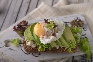 Homemade avocado poached egg sandwic