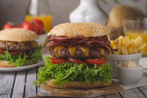 Homemade bacon burger with lettuce a