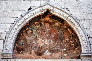Ancient icon on the wall of an ancie