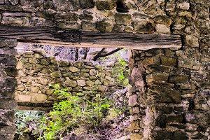 Abandoned red brick builiding doorwa