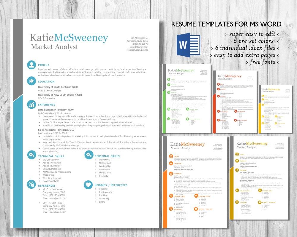 Simple Easy Edit 2 In 1 Word Resume Resume Templates Creative Market