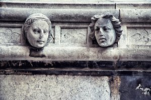 Stone head, detail of the St. James