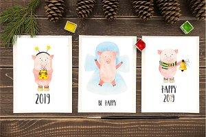 Watercolor Christmas cute pigs