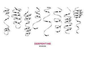 Shiny silver serpentine on white