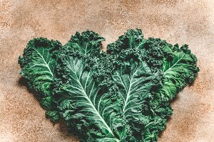 Top view on a kale leaves