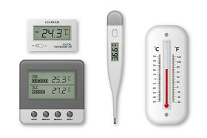 Thermometers. Vector set.