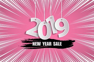 New Year sale 2019 pink concept