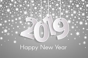 White Happy New Year 2019 card