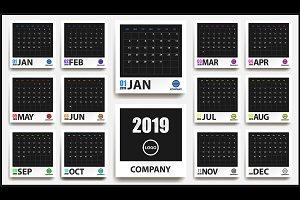 2019 colored calendar mockup