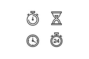 Time and clock vector icon set