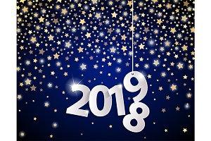 Blue Happy New Year 2019 card