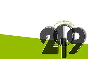 New Year 2019 concept in green style