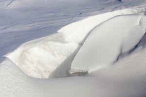 broken snow drift from