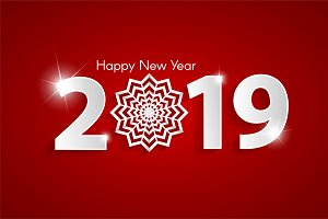 Red Happy New Year 2019 concept