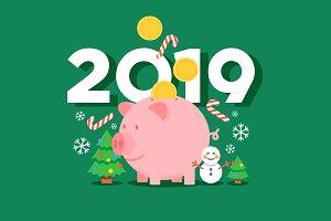 Christmas New Year 2019 piggy bank
