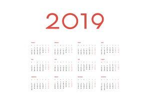 Vector 2019 Calendar template