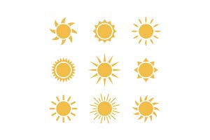 Sun weather vector icon set
