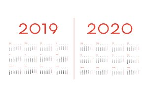 2019 and 2020 Calendar template