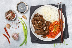 Beef with basmati rice and vegetable