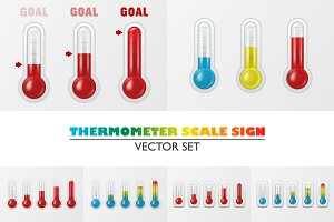Thermometer Scale Sign. Vector Set.