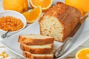 Homemade orange fruit loaf cake