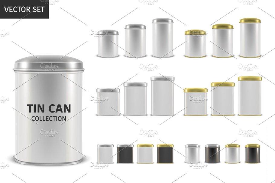 Tin Can. Vector Set.