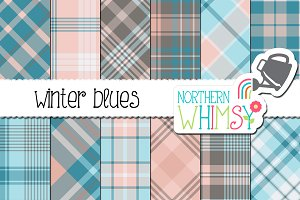Blue, Gray and Pink Winter Plaid