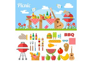 Flat Design Picnic BBQ elements