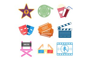 Set of Movie Icons Flat design