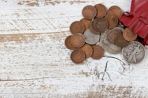 Leather bag of rare USA coins