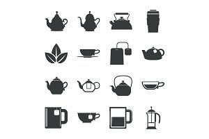 Tea Icons Set on White Background