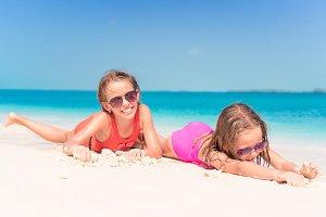 Little girls having fun at tropical