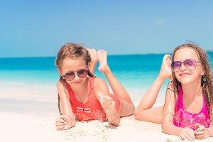 Adorable little girls during summer