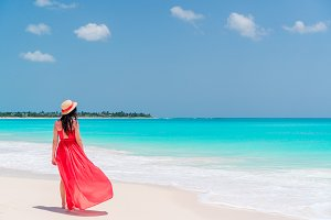 Young beautiful woman on tropical se