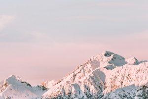Snowy mountains peaks landscape