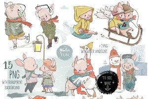 Winter Piggy Set