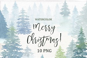 Watercolor Christmas Tree.