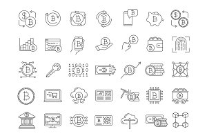 Bitcoin cryptocurrency linear icons