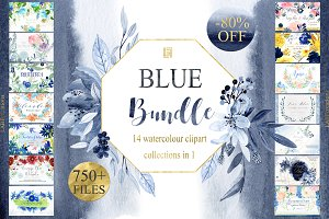 Blue Watercolor Flowers BUNDLE