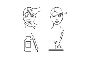 Neurotoxin injection linear icons
