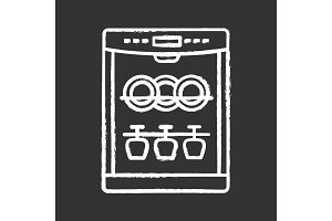 Dishwasher chalk icon