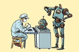 The robot came to repair the head