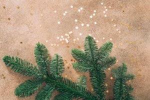 Fir branch and golden glitter stars