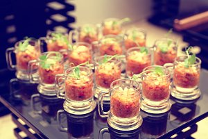 Eggplant appetizer in small glasses