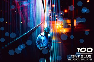 100 Light Blue Bokeh Overlays
