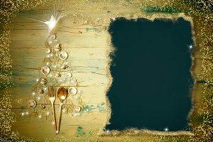 Christmas menu dinner background. Ch