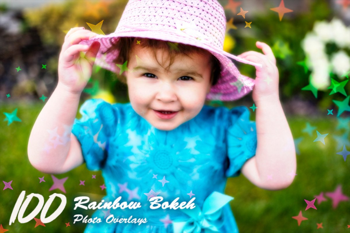 100 Rainbow Bokeh Photo Overlays