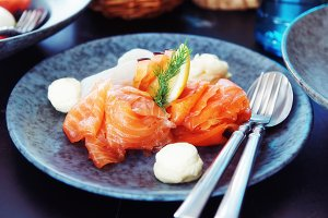 Salted and smoked salmon, toned