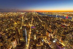Illuminated Skyline of Manhattan
