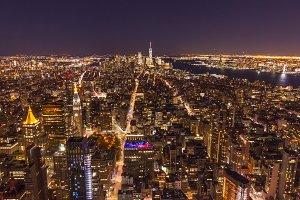 Illuminated Cityscape of Manhattan